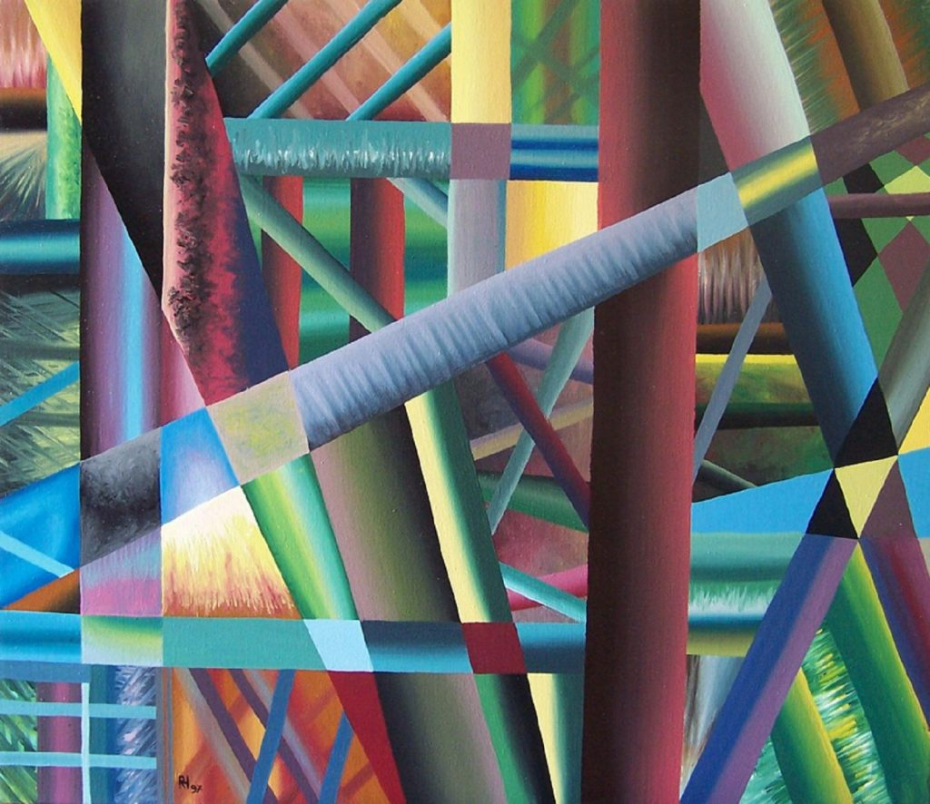 """""""Die Vielfalt des Lebens II"""", 60 x 70 cm, Acryl auf Lw, 1997"""