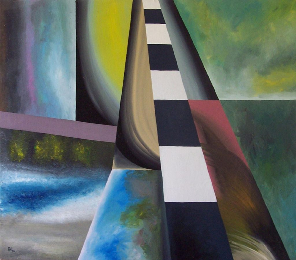 """Schmaler Weg"", Acryl auf Lw., 70 x 80 cm, 1996"