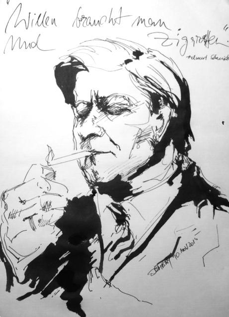 Kristin Dembny_Helmut Schmidt_Portrait_zeichnung_Tusche_deutscher politiker