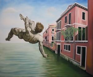Ikarus über Venedig, Acryl und Öl auf Leinwand, 100x200cm, 2013